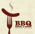Bbq time over pattern background vector illustration Royalty Free Stock Images