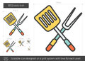 BBQ tools line icon. Royalty Free Stock Photo