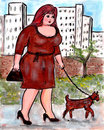 BBW walks her proud pooch Stock Images