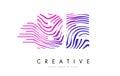 BE B E Zebra Lines Letter Logo Design with Magenta Colors