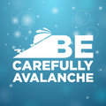 Be carefully avalanche skier rescued from on blue background Stock Photos