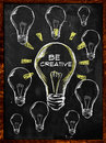 Be creative bulb light put text Stock Photos