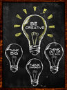 Be creative think big and different on blackboard Royalty Free Stock Images