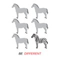 Be different concept vector zebra and horses Royalty Free Stock Photos