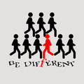 Be different slogan running people illustration Royalty Free Stock Photo