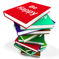 Be happy book means advice on being happier notebook meaning or merry Royalty Free Stock Photos