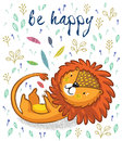 Be happy. Cute lion cartoon vector illustration Royalty Free Stock Photo
