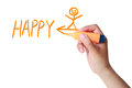 Be happy now hand with marker drawing the concept about Royalty Free Stock Image