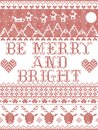 Be Merry and Bright Carol lyrics Christmas pattern with Scandinavian Nordic festive winter pattern in cross stitch with heart