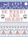 Be Merry and Bright Carol lyrics Christmas pattern with Scandinavian Nordic festive winter pattern in cross stitch with hearts