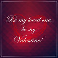 Be my loved one be my valentine love quote poster effects frame colors background and colors text are happy valentines card Stock Image