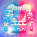 Be my valentine greeting card warm sweater with owls and hear hearts in polygonal style pink blue version may used for winter Royalty Free Stock Photo