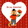 Be my valentine lettering card with cute ginger cat holding a nice flower on love background Stock Photo