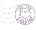 Be my valentine post stamp with proposal to in pink blurred letters Royalty Free Stock Photos