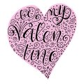 Be my valentine quote into hearth shape in light pink hearth shape on white blue background.