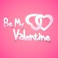 Be my valentine vector illustration of pair of heart on love background Royalty Free Stock Photography