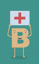Be positive concept illustration of a letter b holding a plus sign card Stock Images