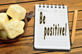 Be positivity words on notebook Stock Images