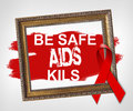 Be Safe AIDS Kils, World Aids Day concept with red ribbon