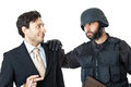 Be serious a corrupted businessman being arrested by a swat agent Stock Photo