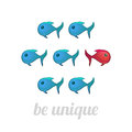 Be unique concept blue and red fish isolated vector illustration Royalty Free Stock Images