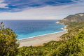 The beach and abandoned asbestos mine near Nonza in Corsica Royalty Free Stock Photo