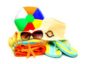 Beach accessories collection of items towel flip flops sunglasses hat and ball isolated on white Royalty Free Stock Images