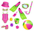 Beach accessories for girl Royalty Free Stock Photos