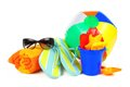 Beach accessories group of colorful items over a white background Royalty Free Stock Image