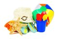 Beach accessories group of colorful items over a white background Stock Photography