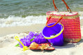 Beach accessories on shore Royalty Free Stock Image