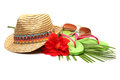 Beach accessories straw hat sun glasses flip flops Stock Photo