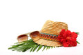 Beach accessories with straw hat sun glasses and flower Royalty Free Stock Image