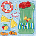 Beach accessories summer on blue water background Royalty Free Stock Photos