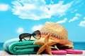 Beach accessories summer on sandy Stock Images