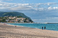 Beach in adriatic riviera resort of marcelli di numana marche along the photo taken on september Stock Image