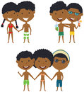 Beach African-American people standing and holding hands. Royalty Free Stock Photo