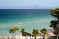 Beach of alcudia majorca port d playa de muro spain in front the iberostar park hotel Stock Images