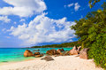 Beach anse lazio at island praslin seychelles vacation background Royalty Free Stock Images