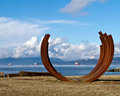 Beach art vancouver the sculpture arcs x on sunset facing english bay in canada bernar venet s piece was part of s Stock Photo