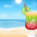 Beach background glass with cocktails on the of sea and sky summer Stock Photography