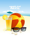 Beach background with place for text sun glasses ball and fruit cocktail eps Stock Photos