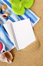 Beach travel background writing book diary copy space vertical Royalty Free Stock Photo