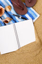 Summer beach background writing book copy space Royalty Free Stock Photo