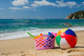 Beach bag and ball Royalty Free Stock Photo