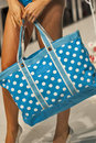 Beach bag blue on model show Royalty Free Stock Photography
