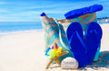 Beach bag with flip flops by the ocean starfish rock and towel Stock Photography