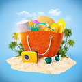 Beach bag with hat towel and other on a sand travel background Royalty Free Stock Images