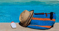 Beach bag on summer vacation Royalty Free Stock Photo
