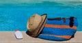 Beach bag on summer vacation Royalty Free Stock Photo